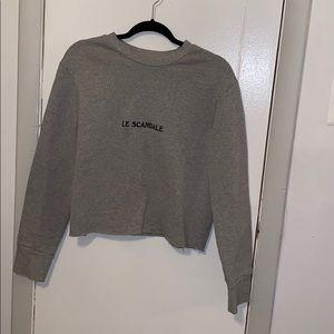 Reformation-Cullen cropped sweatshirt raw hem